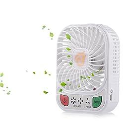 D-FantiX 4-inch Portable Fan 3 Speeds Mini USB Fan Rechargeable Desktop Fan Handheld Fan Battery Operated with LED Light (White)