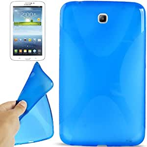 Crazy4Gadget X Shaped Non-slip Texture TPU Case for Samsung Galaxy Tab 3 (7.0) / P3200(Blue)