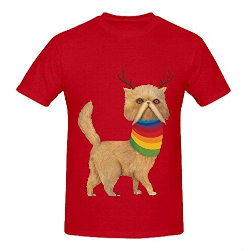 Reversed Nyan Cat Men O Neck Short Sleeve Shirts Red