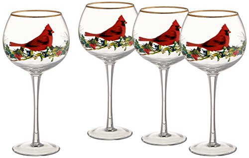 Lenox Winter Greetings Cardinal Balloons Glasses (Set of 4), Clear