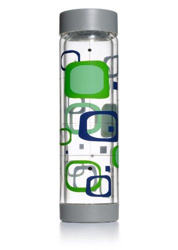 Glass Water Bottle - 16Oz - Double Walled - Grey Cap & Base - Retro Design