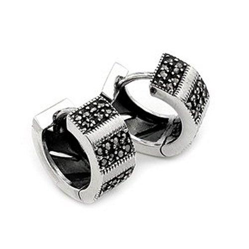 16mm Marcasite Huggie Sterling Silver Earrings