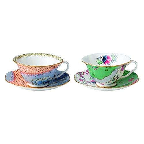 Wedgwood-Papillon-Fleur-Story-Tasse--th-et-soucoupe-pivoine-et-fleur-Bleu-Lot-de-2