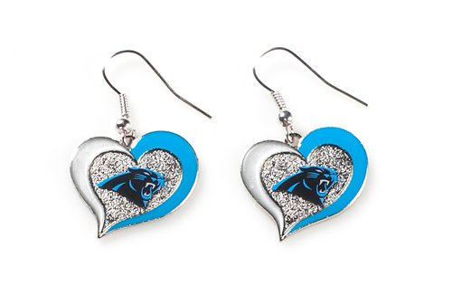 Carolina Panthers NFL Sports Team Logo Swirl Heart Shape French Hook Style Charm Dangle Earring Set
