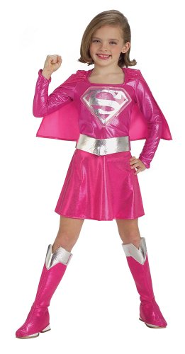 Child Small (Size 4-6, 3-4 Yrs) PINK Supergirl Costume