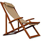 Chaise camping plage pliante en bois Tissu assise Beige +coussin amovible