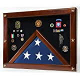 Military Award Shadow Box with Display Case for Memorial Flag - Red Felt Selected