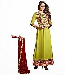 TFW Green Salwar Kameez Semi Stitched Georgette Dress Material
