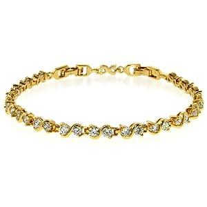 6.48 Ct Stunning Round White CZ Gold Plated Tennis Bracelet 7