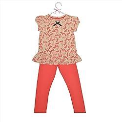 CrayonFlakes Kids Wear for Girls Cotton Pink Grey Night Suit SleepSuit Set