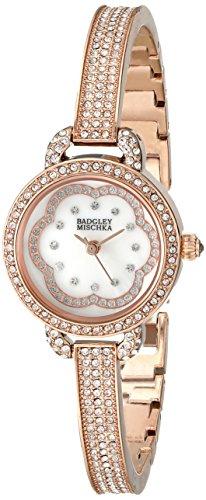 badgley-mischka-ba-1342wmrg-de-la-mujer-pulsera-de-swarovski-crystal-acentuado-rose-gold-tone-reloj