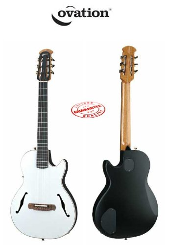 Ovation Yngwie J. Malmsteen Signature Nylon Viper Guitar White Pearl Chambered Mahogany Body With Case Ym63-6P