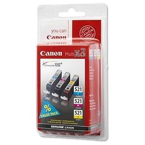 CANON 3er Pack Tintenbehälter CLI-521 - Cyan / Magenta / Gelb + Papier Goodway - 80 g / m2- A4 - 500 Blatt für Canon PIXMA iP iP3600, iP4600, iP4700, für Canon PIXMA MP MP540, MP550, MP560, MP620, MP630, MP640, MP860, MP980