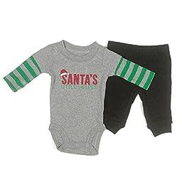 Carters Boys/Girls 2-Piece Santas Little Helper Onesie & Pants Set Newborn Grey