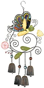 Regal Art & Gift Bohemian Bells Wind Chime, Yellow Butterfly
