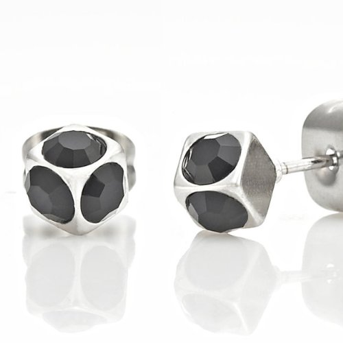 Unique 3D Cube Stainless Steel Silver Black CZ Stud Earrings for Men