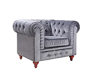Amazon.com: Classic Scroll Arm Large Velvet Living room Accent Chair