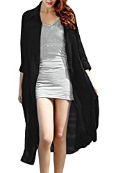 Ladies [Point Collar 3/4 Sleeve Single-Breasted Front Shirt Dress