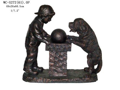 ... Garden Outdoor Indoor Boy And Dog Sculpture Statue Water Fountain  (Medium Size) 11u0027