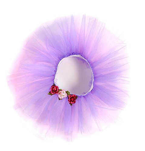 Great Pretenders Girls Tulle Tutu Ballerina Skirt Medium Large Purple with Roses - 1