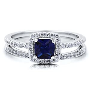 Cushion Sapphire Cubic Zirconia CZ Sterling Silver 2Pc Bridal Ring Set - Nickel Free Engagement Wedding Ring Set Size 8