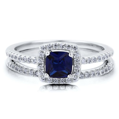 sapphire BERRICLE Cushion CZ Simulated Sapphire 925 Silver 2Pc Bridal Fashion Right Hand Ring Set