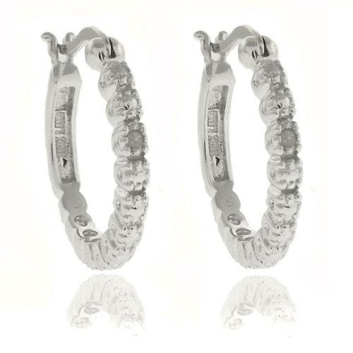Silver Overlay Diamond Accent Hoop Earrings