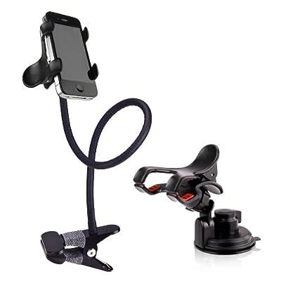 BESTEK Sostenedor de flexible con soporte ventosa + cuello de cisne para teléfonos móviles montaje en mesa,escritorio,o en parabrisas, tablero de instrumentos BTIH750