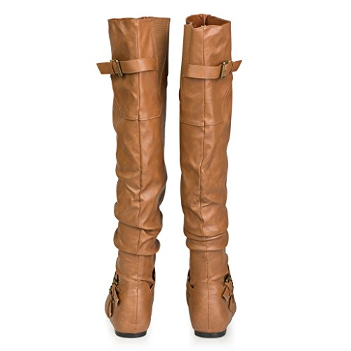 twisted s shelly wide calf knee high boot cognac