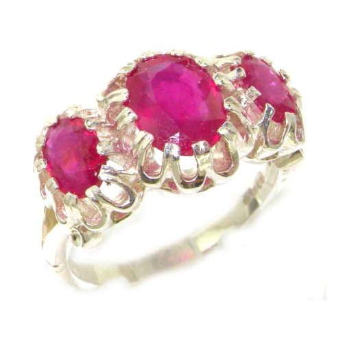 Unusual Large Solid Sterling Silver Natural Vibrant Ruby Victorian Inspired Ring - Size 12 - Finger Sizes 5 to 12 Available - Suitable as an Anniversary ring, Engagement ring, Eternity ring, or Promise ring