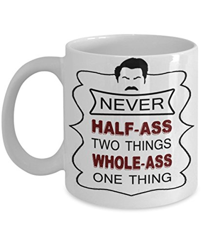 RON SWANSON COFFEE MUG ~ best gifts for dad/mum/her/him or whoever likes to have coffee mugs with quote/ pyramid of greatness - bust- bobblehead - breakfast - funny- personalized-novelty (White) (Sewing Table Assistant compare prices)