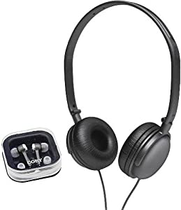 Coby CV140BK Earbud/Headphone Combo (Discontinued by Manufacturer)