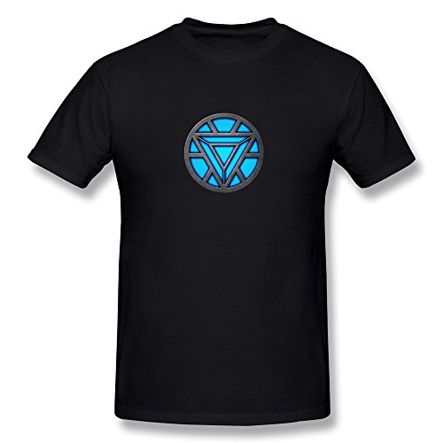 MJ Men's Arc Reactor LED Iron Man T Shirt Black