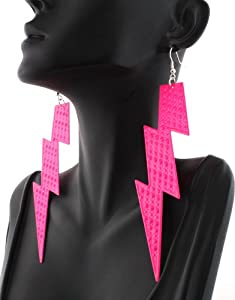 Ladies Spotted Hot Pink Metal Lightning Bolt 5 Inch Dangle Earrings