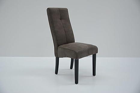 """Conjunto de 2 sillas de comedor de estilo contemporáneo en tela de microfibra color camel """"BEN"""""""