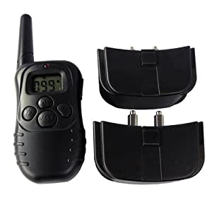LCD Remote Training Shock Collar 100 Levels for 2 Dogs