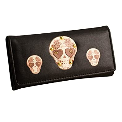 Your Gallery Small and Thin Cute Skull Print Faux Leather Wallet Clutch Purse
