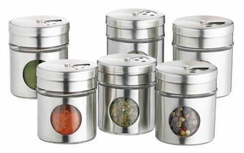 Kitchen Craft raccolta di sei barattoli di spezie in acciaio inox