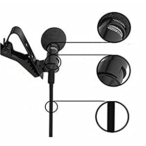 HUACAM Lavalier Lapel Microphone Clip-on Omnidirectional Condenser Microphone for Computer Voip Skype Laptop Voice Amplifier (Mono 3.5mm Jack Plug)
