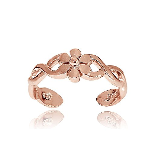 Hoops & Loops Rose Gold Flash Sterling Silver Braided Daisy Flower Toe Ring (Toe Rings And Anklets compare prices)