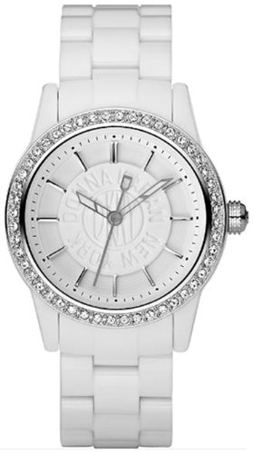 Dkny Quartz White Gem Dial White Plastic Band - Women's Watch NY8011