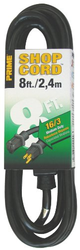 Prime Wire & Cable Ec502608 8-Foot 16/3 Sjtw Indoor And Outdoor Extension Cord, Black