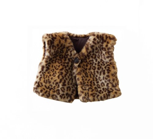 Mud Pie Baby-Girls Infant Leopard Faux Fur Vest, Multi Colored, 9-12 Months