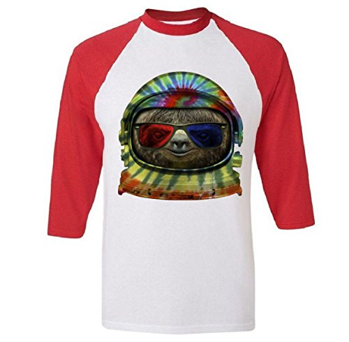 Baseball Sleeve: Sloth Astronaut 3D Glasses Shirt Red XL