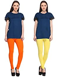 Leggings Free Size Cotton Lycra Churidar Leggings - Pack Of 2 Of Light Orange & Yellow Colour By SMEXY