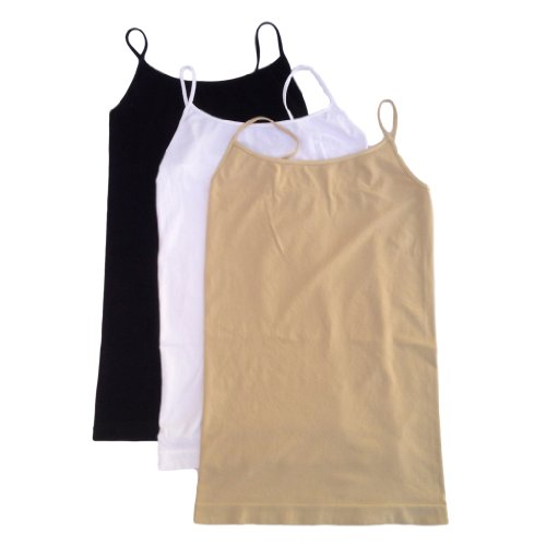Nikibiki Long Camisole 3 Pack Style NS4011 Black White Nude One Size (Nikibiki Tank compare prices)