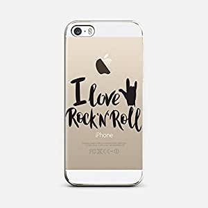 QRIOH iPhone SE I Love Rock 'n' Roll Transparent Case for iPhone SE Back Cover Case - Premium Quality