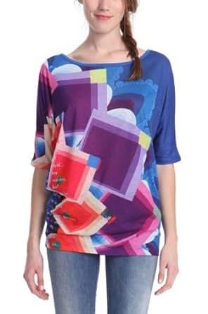 Desigual - sicilia - t-shirt - imprimé - femme - bleu (nautical blue) - xs