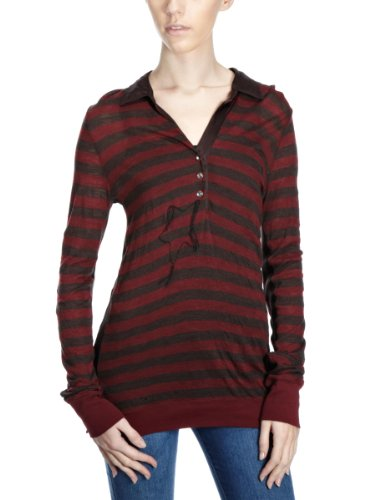 Converse Women's John Varvatos Long Sleeve Polo Top Chocolate/Cranberry X-Small