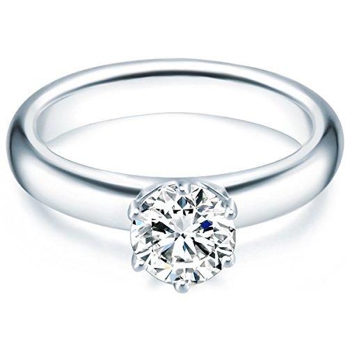 Tresor 1934 Annelli da Donna / Anello di fidanzamento / Solitario in Argento Sterling 925 con rodio Zircone bianco Taglia 14 60451017